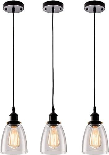 Kitchen Mini-Pendant Light Industrial Edison Hanging Light Island Clear Glass Adjustable Nylon Core Ceramic Holder Lighting Fixture Indoor