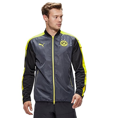 Puma Borussia Dortmund FC 2016/17 Cup Stadium Jacket - Adult - Black/Cyber Yellow - Large