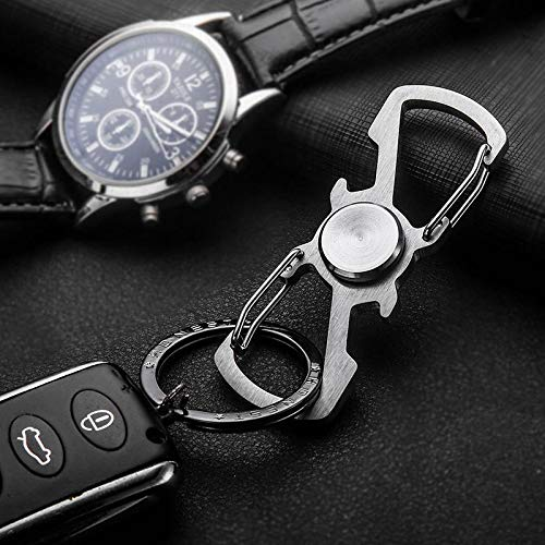 Stone Wordd sbiner Keyring 1PCS Handspinner Stainless Steel Gyro Keychain Men Spinner Finger for Autism and Anti Stress Keyring Jewelry Gift