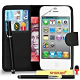 Apple iPhone 4 / 4S Premium Leather Black Wallet Flip Case Cover Pouch + 2 In 1 Ball Pen Touch StylusRED DS+ Screen Protector & Polishing Cloth SVL6 BY SHUKAN®, (WALLET BLACK)