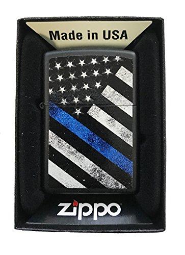 Zippo-Custom-Lighter-Blue-Line-Police-Support-USA-Flag-Black-Matte