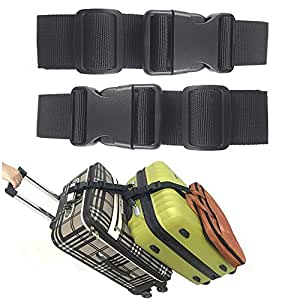 Ajmyonsp Pack of 2 Add a Bag Luggage Strap Adjustable Suitcase Belt Travel Attachment Travel Accessories for Connect Your 3 Luggages, Black