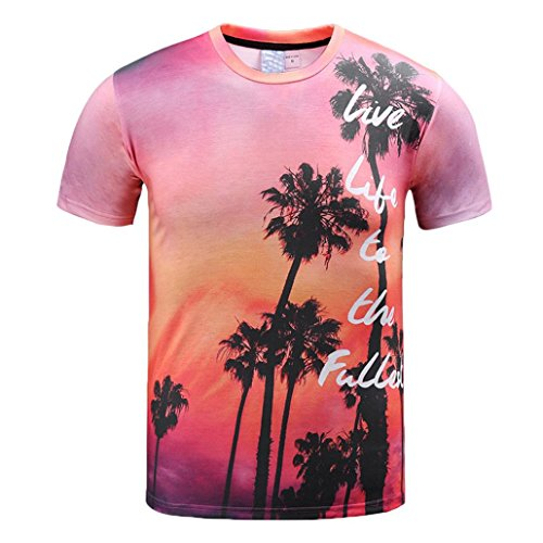 Élasticité Adeshop Hawaï Lche Cocktail Manches 3d Chemises Tee Rond Hommes D'été Vêtements Top Chic Courtes Rose Impression Mode Casual Haut shirt Tropic Plage Blouse T Col r0Hqr