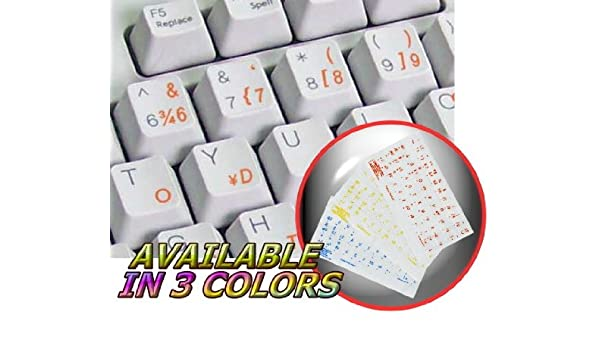 TURKISH F KEYBOARD STICKER WITH BLUE LETTERING TRANSPARENT BACKGROUND