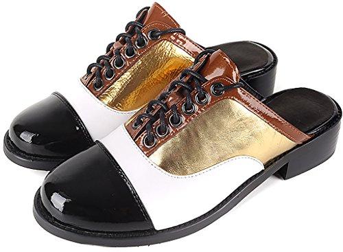 Calaier Women Careporter Round-Toe 2.5CM Block Heel Slip-on Mules Sandals Shoes Gold FQBBJSIDOg