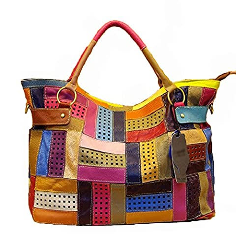 Aibag Leather Rainbow Hobo Hollow-out Mazy Tote Shoulder Bag Double Handle Handbag w/ Shoulder - Lambskin Leather Tote Bag