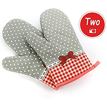 Damast Bowknot Oven Gloves Non-Slip Kitchen Oven Mitts Heat Resistant Cooking Gloves for Cooking, Baking, Barbecue Potholder, Red, 1 Pair