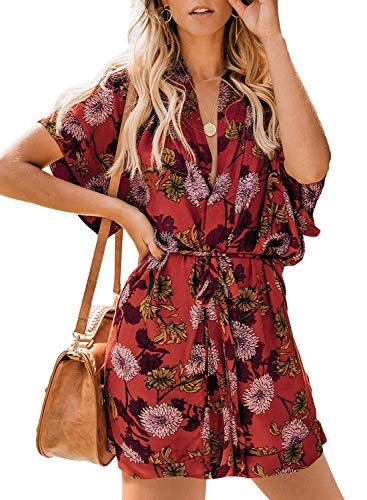 - Biucly Women's Floral Printed V Neck Tie Waist Mini Skater Half Sleeve T Shirt Kimono Casual Summer Dress Red-A M