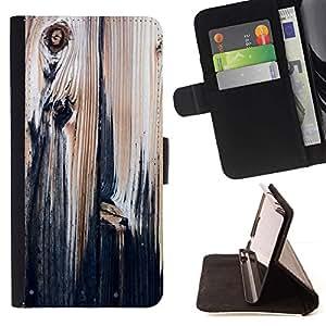 For HTC One A9 Case , Pintura textura de madera rústica Negro vintage- la tarjeta de Crédito Slots PU Funda de cuero Monedero caso cubierta de piel