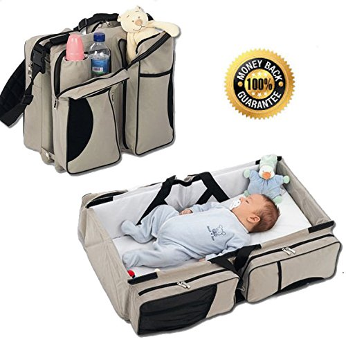 Boxum Baby 3 in 1 Portable Bassinet, Diaper Bag and Change Station with Fitted Sheet and Carabiner Keyring, Cream by Boxum