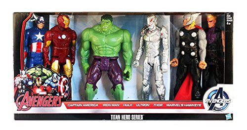 Marvel Avengers Titan Hero Series 6 Pack: Captain America, Iron Man, Hulk, Ultron, Thor, Marvel's Hawkeye