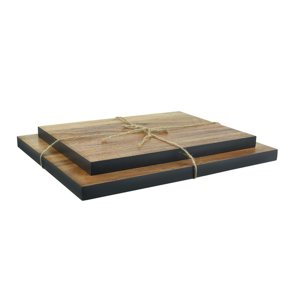 Quantumby Premium Acacia Wood Cutting Board Set of 2 Plates Large 11X14 Inches Small 9X12 Inches Chopping Block Kitchen Tool Cheese Board Black sideline color