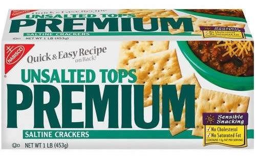 Nabisco Premium Saltine Crackers, Unsalted Tops, 16 oz (Pack 9)