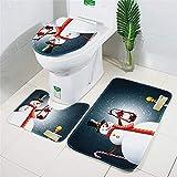 TAOtTAO 3pcs Christmas Suction Grip Bath Mat Bathroom Kitchen Carpet Doormats Decor (H)
