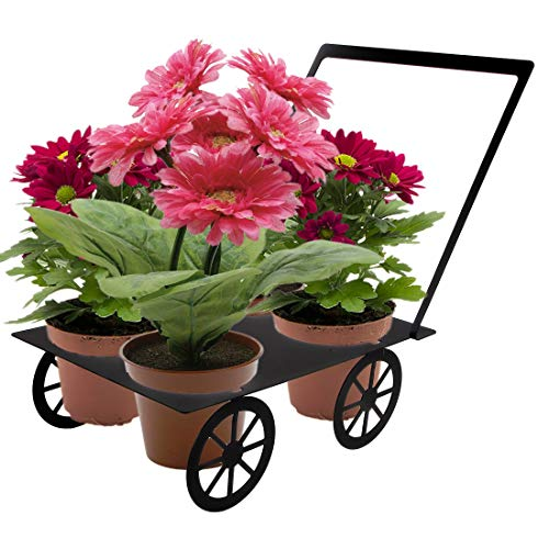 Lily's Home Wagon Metal Yard Art Four Flower Pot Planter Stand - Ideal for Home, Garden, Patio - Great Gift for Plant Lovers, Housewarming, Mother's Day (Black)