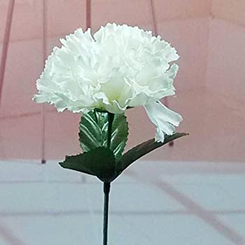Amazon 100 carnations 5 white artificial silk flower pick 100 carnations 15 artificial silk flower pick white colour mightylinksfo