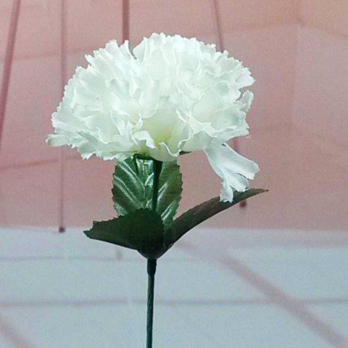 (100 Carnations 15'' Artificial Silk Flower Pick White Colour)