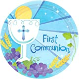 "Blue First Communion Round Dessert Paper Plates Religions Party Disposable Tableware and Dishware, 7"", Pack of 18."