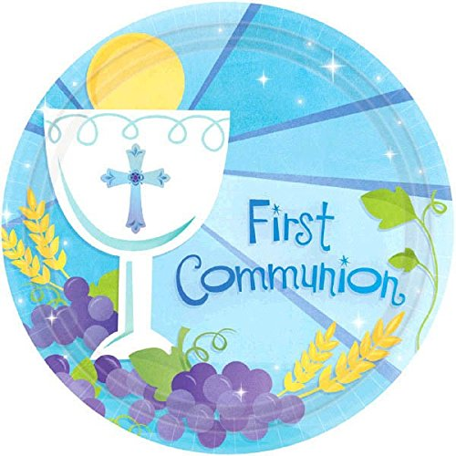 Blue First Communion Round Dessert Paper Plates Religions Party Disposable Tableware and Dishware, 7