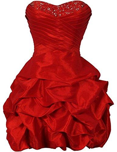 KAY&LAYLA Women's Beaded Taffeta Mini Bubble Party Dress Red Size Custom (Red Taffeta Bubble)