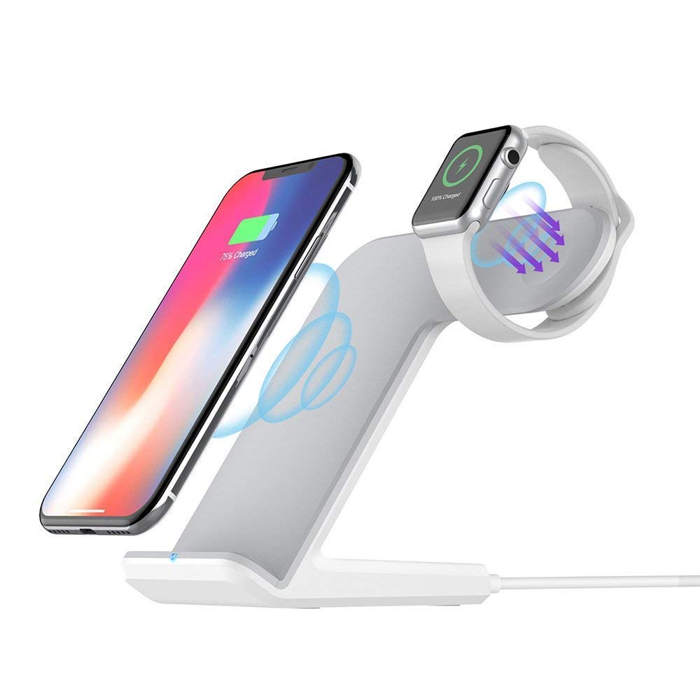 Charging Station//Dock with QC3.0 Adapter for iPhone and iWatch 4//3//2//1,Fast Wireless Charger for Samsung Galaxy Note and All Qi Inductive Wireless Charger