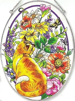 Amia Oval Suncatcher with Cat in Summer Garden Design, Hand Painted Glass, 6-1/2-Inch by 9-Inch