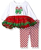 Youngland Baby Girls My First Christmas Candy Cane Legging Set, Red/White/Green, 0-3 Months