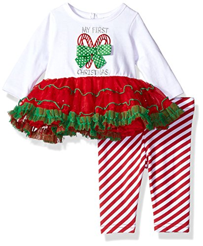 Youngland Green - Youngland Baby Girls My First Christmas Candy Cane Legging Set, red/White/Green, 3-6 Months