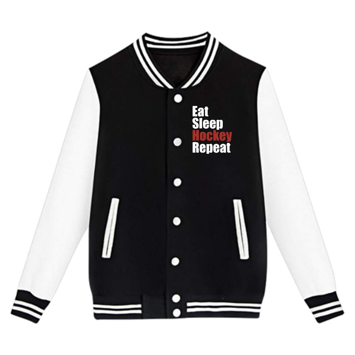Eat Sleep Hockey Repeat Coat Sport Outfit NJKM5MJ Unisex Youth Baseball Uniform Jacket
