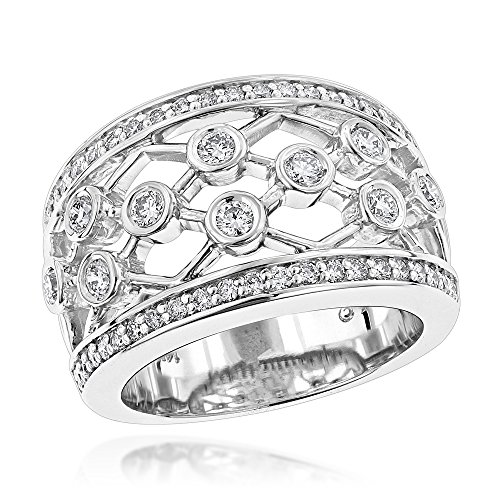 ique Diamond Right Hand Ring for Women (White Gold Size 6.5) (Diamond Flower Right Hand Ring)