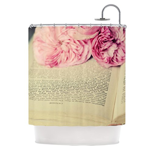 """Kess InHouse Cristina Mitchell """"A Good Read"""" Pink Tan Shower Curtain, 69 by 70-Inch"""