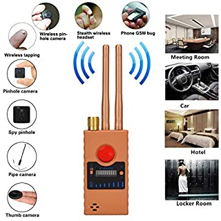 Anti Spy Camera Detector for Hidden Camera Laser Lens GSM Listening Device Finder Wireless RF Bug Detector Signal Radar Radio Scanner Wireless Alarm (Yellow)