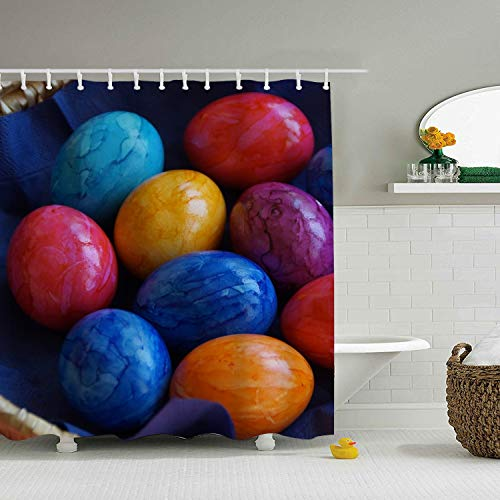 Cafl Personality Shower Curtain,Easter Eggs,65 × 71