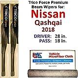 Nissan Qashqai Wiper Blades - Premium Beam Wiper Blades for 2018 Nissan Qashqai Driver & Passenger Trico Force Beam Blades Wipers Set of 2 Bundled with Bonus MicroFiber Interior Car Cloth