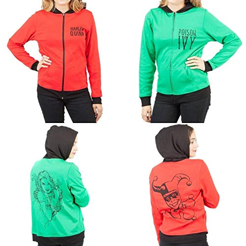 DC Comics Harley Quinn & Poison Ivy Reversible Womens Hoodie Jacket, Large]()