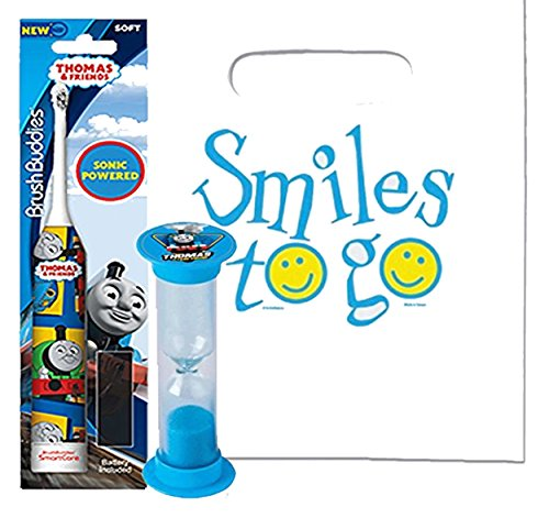 Thomas & Friends 2pc Bright Smile Oral Hygiene Bundle! Thomas Turbo Powered Spin Toothbrush & Brushing Timer! Plus Dental Gift & Remember to Brush Visual Aid!
