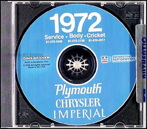 1972 PLYMOUTH REPAIR SHOP & SERVICE MANUAL & BODY MANUAL CD INCUDES: Barracuda,