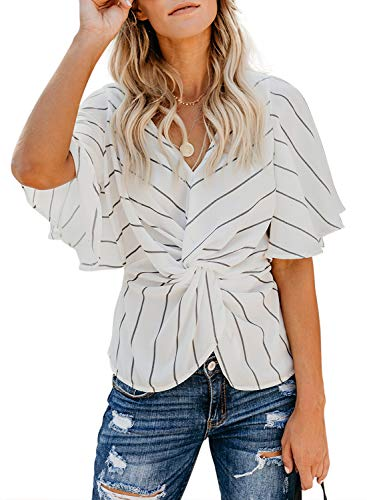 (FARYSAYS Women's Tops and Blouses Striped V Neck Ruched Twist Flare Short Sleeve Loose Shirts Fashion Summer Tunics White Medium)