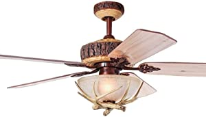 Tropicalfan Antler Ceiling Fan with Light and Remote, Chandelier Fan Light, Cabin Electrical Fan with 4 Wood Blades for Hunting, Farmhouse, Indoor (52