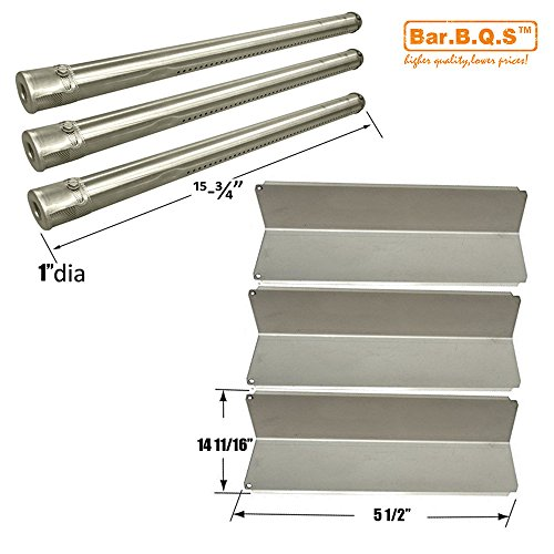 Bar.b.q.s BBQ Grill SS Burner, SS Heat Plate Shield Kit Parts Replacement For Fiesta Blue Ember FG50069LP Gas Barbecue Grill