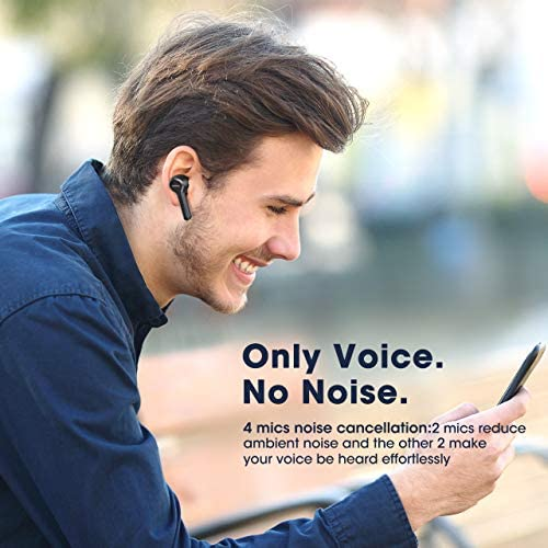 Wireless Earbuds,Mpow M9 4-mic Noise Cancelling CVC 8.0 True Wireless Bluetooth 5.0 Earphones in-Ear,Touch Control Stereo Bass Sport Headphones,40H Playing Time/USB-C/IPX8 Waterproof,Three modos,Black