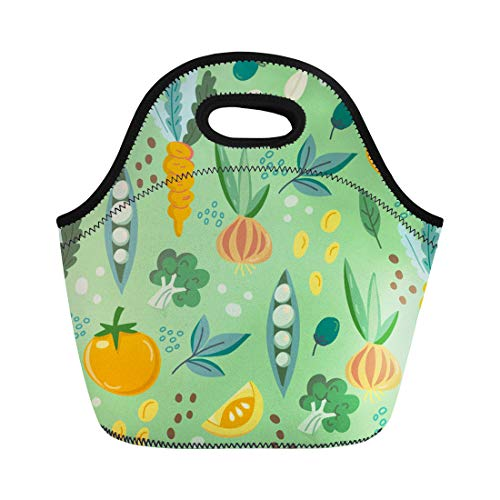 Semtomn Lunch Bags Carrot Bell Beautiful of Vegetables Bright and Broccoli Celery Neoprene Lunch Bag Lunchbox Tote Bag Portable Picnic Bag Cooler Bag