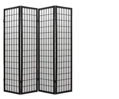 ORIENTAL FURNITURE Asian Decor 6-Feet Japanese Double Sided Window Pane Shoji Privacy Screen, 4 Panel (Shutter Folding Screen)