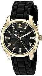 Anne Klein Women's AK/2120GPBK Gold-Tone and Black Silicone Strap Watch