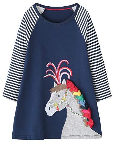 Fiream Baby Girls Cotton Casual Longsleeve Cartoon Stripe Dresses(SY028,5T) -