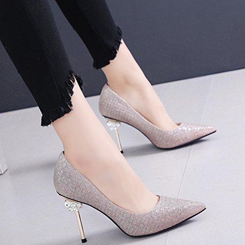 SFSYDDY-Sexy Superficial Banquete Zapatos Zapatos De Primavera Y Otoño Nuevos Picos Esbelto Bien Tacones Tacones Altos Golden