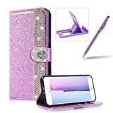 Diamond Wallet Leather Case for iPhone 8 Plus,Flip Cover for iPhone 7 Plus,Herzzer Premium Luxury Love Heart Buckle Magnetic Closure Purple Glitter Stand Case with Inner Soft Rubber Protective Case
