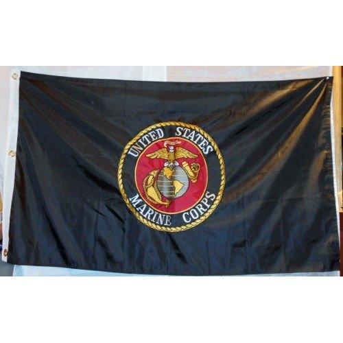 Moon Knives 3x5 Black Marine Corps USMC Emblem Seal Nylon Fl