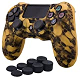 YoRHa Water Transfer Printing Skull Silicone Cover Skin Case for Sony PS4/slim/Pro controller x 1(yellow) With Pro thumb grips x 8