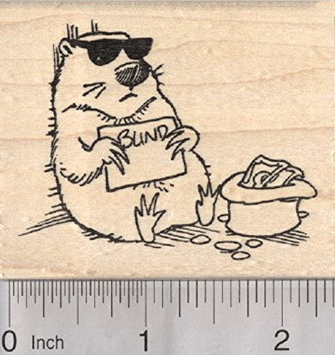 Groundhog Day Rubber Stamp, Blind with Sunglasses (Sunglasses Rubber Stamp)